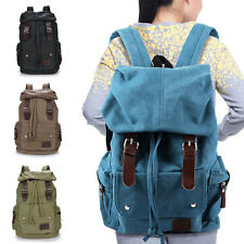 Unisex Vintage Travel Canvas Leather Backpack School Hiking Bag Sport Rucksack