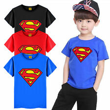 Toddler Kids Boys Short Sleeve Superman T-Shirt Tees Costume Clothes Tops 1-7Y