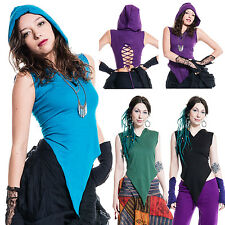 SUMMER PIXIE TOP, pointed pixie hood top vest, psy trance doof hippy clothing