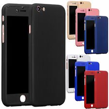 New Hybrid 360° Hard Ultra thin Case +Tempered Glass Cover For Apple iPhone 6 6S