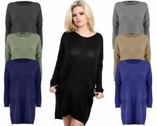 New Ladies Women Knitted Batwing Style OverSized Fine Knit Jumper Dress Top 8-14