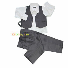 BOYS FORMAL GREY SUIT 3 Pcs Tuxedo/Wedding Dress  0-16