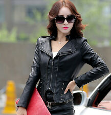 New Korea Autumn Women jacket Splice leather jacket V Neck zip jacket coat