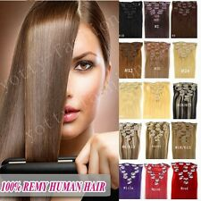 15''18''20''22'' Brazilian 100%Remy Clip in Human Hair Extensions 7Pcs 80g 120g