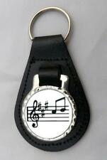 MUSIC NOTES LEATHER KEY FOB Keyring Gift Choice of Colours NEW