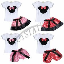 2PCs Baby Girl Minnie Mouse T-Shirt Top+Skirt Pants Dress Outfit Clothes Set