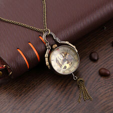 Antique Transparent Glass Ball Mechanical Pendant Pocket Necklace Watches BE