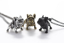 FRENCH BULLDOG Necklace FRENCHIE  + POUCH/ BOX - SILVER / BLACK/ BRONZE - 3D DOG