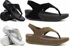 Ladies Womens Low Wedge Heel Comfort Walking Fitness Toning Sandals Shoes Size