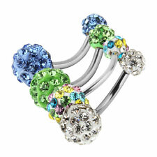 1PC Navel Belly Button Bar Ring Barbell Rhinestone Crystal Ball Body Piercing BE