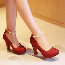 Stylish Womens Pumps High Heel Platform Glitter Pearl Strap Buckle Wedding Shoes