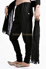 Women's Cotton Indian Churidar Salwar Pants with Dupatta Stole Casual Ethnic Set