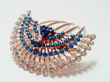 Peacock and feather inspired Design Hair Comb Stick Adorned with Rhinestones