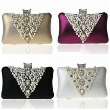 Pearl Beaded Crystal Party Wedding Bride Handbag Prom Clutch Evening Bag Purse