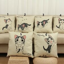 Cat Cotton Linen Leaning Cushion Throw Pillow Cover Pillowslip Case 17x17 inch