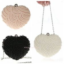 HOT Heart Pearl Beaded Party Bride Wedding Prom Handbag Clutch Bag Evening Purse