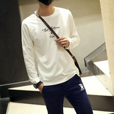 Men's Long Sleeve Patchwork Cotton Tee Shirt Tops Stylish Loose Casual T-Shirts
