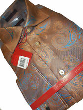 Mens Leonardi High Collar French Cuff Clubbing Shirt Edition 391 Metallic Bronze