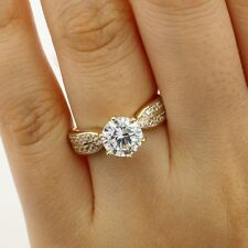 2.00 Ct 14K Real Yellow Gold Cathedral Round Double Row Engagement Propose Ring