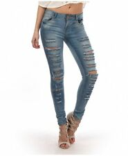 NEW WOMEN FADED LIGHT BLUE DISTRESSED FRONT SKINNY JEANS TROUSERS SIZE (6-14)