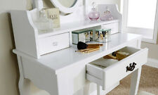 SHABBY CHIC WHITE LUMBERTON VANITY TABLE SET MIRROR, SOFT SEAT & LARGE DRAWER