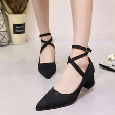 Womens Ankle Strappy Block Kitten Heels Pumps Faux Suede Pointed Toe Shoes
