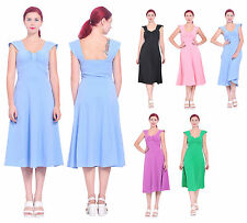 MARYCRAFTS WOMENS CASUAL VINTAGE RETRO FIT FLARED SWING MIDI TEA DRESS