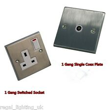 CED SATIN CHROME DECORATIVE SOCKETS AND SWITCHES WITH WHITE INSERT / ROCKERS