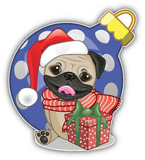 Christmas Pug Dog Car Bumper Sticker Decal 5'' x 5''
