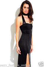 Black Strapless Evening Cocktail Dress Sz S M L High Slit Party Sexy Maxi Dress