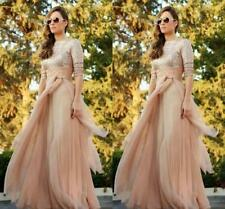 Floor-Length Sequins Evening Dresses Chiffon Long Sleeve Bridesmaid Party Dress