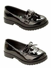 GIRLS BLACK PATENT SCHOOL SLIP ON CHUNKY LOAFERS LOW HEEL DOLLY PUMPS SHOES SIZE