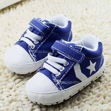 Toddle infant Baby Girls Boys blue Soft sole Crib Shoes Sneaker Size 0-18Months
