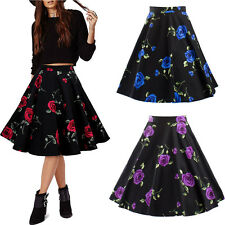 Women Vintage Style 50s 60s Floral Rockabilly Dress Pinup Swing Skirt Party Gown
