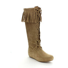 Beston Women's Fashion Fringe Lace Up Knee High Boots BROWN Size 6 ~ 10