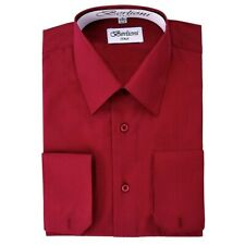 Berlioni Italy Men's Convertible Cuff Solid Italian French Dress Shirt Burgundy