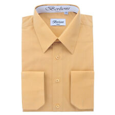 BERLIONI ITALY MEN'S CONVERTIBLE CUFF SOLID ITALIAN FRENCH DRESS SHIRT KHAKI