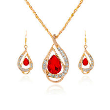 New Female's 18k Gold Plated Chain Austrian Crystal Necklace Earring Jewelry Set