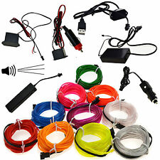 LED Glow Neon EL Wire Light String Strip Rope Tube Car Party Deco + Controller