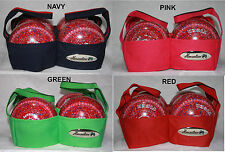 Henselite 4 Bowl Lawn Bowls Bowling Carrier Blue, Green, Pink or Red Heavy Duty