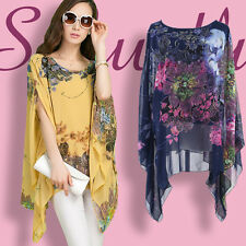 Korean Womens Loose Floral Batwing Sleeve Career Evening Tops Blouse T-shirt