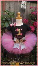 Personalized Pink and Gold Birthday Outfit Tutu Set