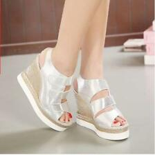 Hot New Womens Open Toe Strappy Wedge Heels Platform Slingback Sandals Shoes US8
