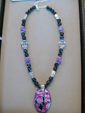 Lovely Navy and Fuchsia Agate Pendant Necklace with genuine agate beads