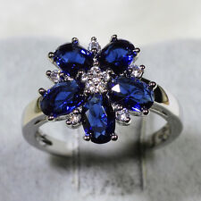 18K White Gold Filled Sapphire Clear CZ Women Vintage Flower Ring R7166 Size5-10