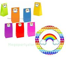 Rainbow Paper Party Bags With Sealers/Kids Party Supplies/Loot Bags/Favours