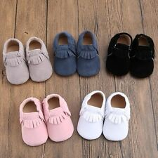 1pair Cute Baby Girl Infant Toddler Walking Sole Suede/Leather Shoes 0-18 Months