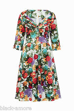 New Judy Wiggle Flared Dress Floral Rose Print Retro Rockabilly 50s Vintage