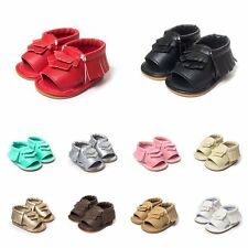 0-18M Baby Soft Sole Crib Shoes Leather Shoes Toddler Girl Tassel Moccasin CC