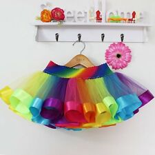 Kids Baby Girls Rainbow Tutu Princess Skirt Party Dancewear Pettiskirt For 0-10Y